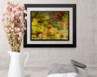 Framed Watercolor Art, Koi Fish Painting, Pisces Gift, Anniversary Presents for Wife, Japanese Feng shui décor for Bathroom Living Room
