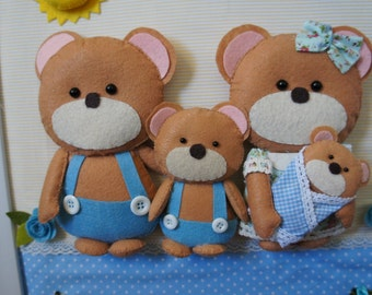 Hand made table for baby, child, adult 100% felt bear family