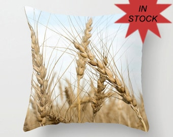Wheat Throw Pillow Cover, Rustic  Home Decor, Golden Brown Photo Cushion Case, Blue Gifts for Grain Farmer Appreciation, Botanical Art Decor