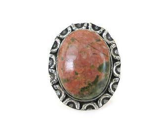 Vintage Unakite Jasper Silver Ring - Silver Metal, Pink Green Stone, Jasper Ring, Silver Ring, Vintage Ring, Vintage Jewelry, Size 6