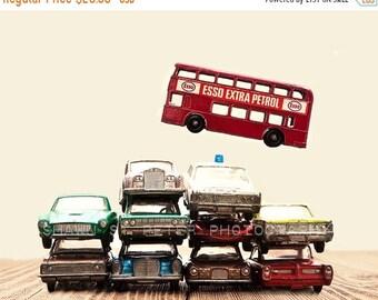 FLASH SALE til MIDNIGHT Boy Nursery Decor, Boys Wall art, Car Pile The Red Bus Jump, Photo Print, Boys Room decor, Boys Nursery Prints