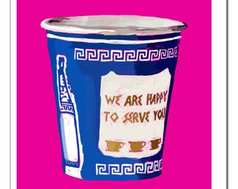 NYC Greek Coffee Cup Illustration-Pop Art Print