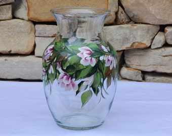 Hand Painted Glass Vase with Berry Wine Flowers