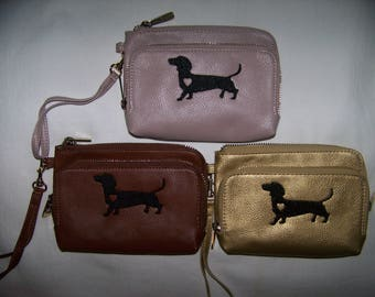 Dachshund Wristlet - Wallet - Black Embroidered Dachshund Wristlet/Wallet