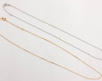 Solid Gold Chain, 14k Gold Chain, Skinny Gold Chain, Delicate Chain, Long Layered Chain, 14K White Gold Chain, Rose Gold Chain, GN0358