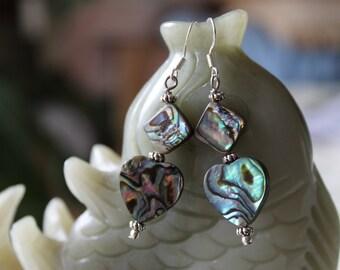Mix Shape Abalone Earrings, sterling silver hook