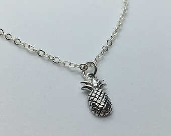 Sterling Silver Detailed Pineapple Necklace, Hawaiian Pineapple Jewelry, Tropical Art, Custom Chain Length, Makes A Unique Gift!