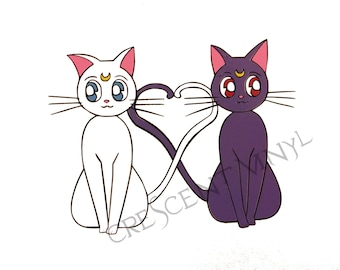 Sailor Moon Multi Color Die Cut Vinyl Decal Sticker * Luna Artemis Love* Ipad, Laptop, Mirror, Car, Windows, etc