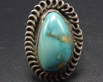 Vintage NAVAJO Sterling Silver & DAMELE TURQUOISE Ring, size 6.75, 6.1g