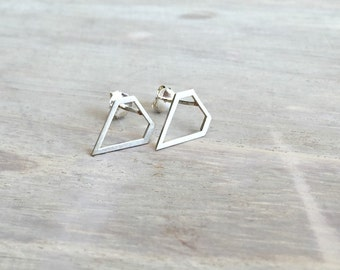 Sterling Silver Diamond Earrings, Sterling Silver Everyday Jewelry, Diamond Earring