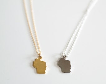 Wisconsin Tiny State Charm Necklace - Midwest Charm - 18k Gold or Silver (Rhodium) Plated