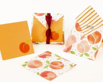 Handmade Envelopes & Note Cards    Watercolor Peaches(Pkgof8)