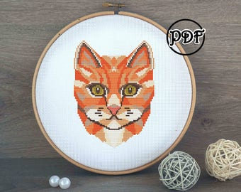 Ginger cat cross stitch pattern PDF - Geometric animals embroidery pattern - home decor - wall art - Cat lover gift