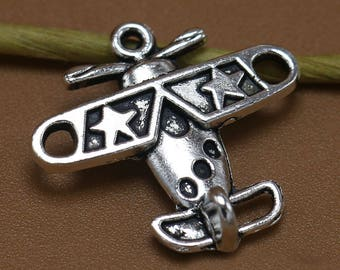 10 Airplane Charms, 19x18mm Antique Silver Airplane Charms Pendant, Aircraft Charms Pendant