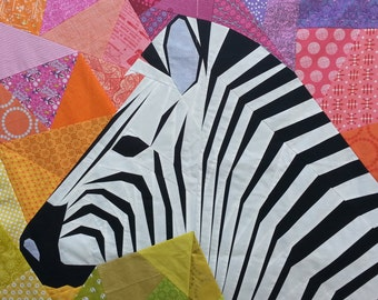 Mega Zebra in Profile, A Foundation Paper Pieced Quilt Pattern, 40 Inch
