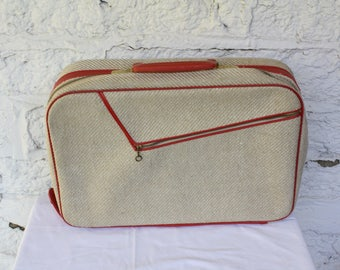1950s Weekend Suit Case / Vintage Tweed Suitcase / Kids Travel Suitcase / Weekend At Grandmas / Vintage Luggage