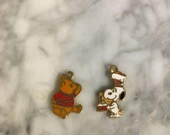 Vintage Winnie the Pooh and Snoopy Enamel Charms