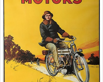 TRIUMPH MOTORS MOTORCYCLE Vintage Ad Poster Coventry England Sporty 24x36