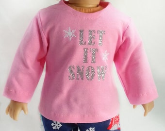 18 inch doll clothes, Christmas pajamas,  pink pajamas, blue pajamas, american made, girl doll clothes