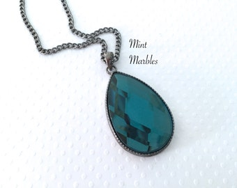 Teal Blue Teardrop Necklace. Faceted Glass Teardrop. Gunmetal Chain. Antique Silver. Simple Teardrop Necklace. Under 20 Gifts. Peacock Blue.