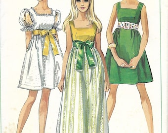 Simplicity 8061 Misses Empire Waist Dress With Square Neckline Sewing Pattern, Size 12, Bust 34, UNCUT