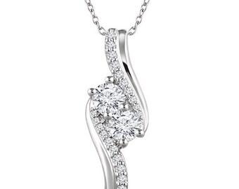 Diamond Necklace,Forever Us Two Stone Diamond Pendant .75CT  10K White Gold, Womens Diamond Necklace