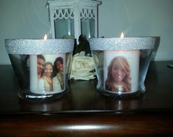 Photo infused candles with custom holder