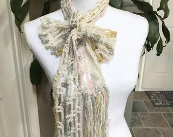 Cream Pastel Lightweight Thin Mesh Spring Crochet Scarf ~ Any Season Scarf ~ Long Fringe Scarf ~ Boho Trendy Hippie Gypsy