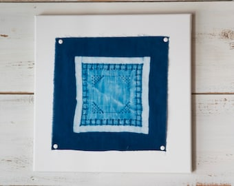 Vintage Hankie Cyanotype Cotton Print on Canvas