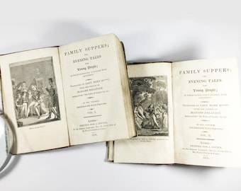 Antique Georgian books, Family Suppers, Evening Tales for Young People, Julie Delafaye Brehier, French morality tales, Volumes 1 & 2