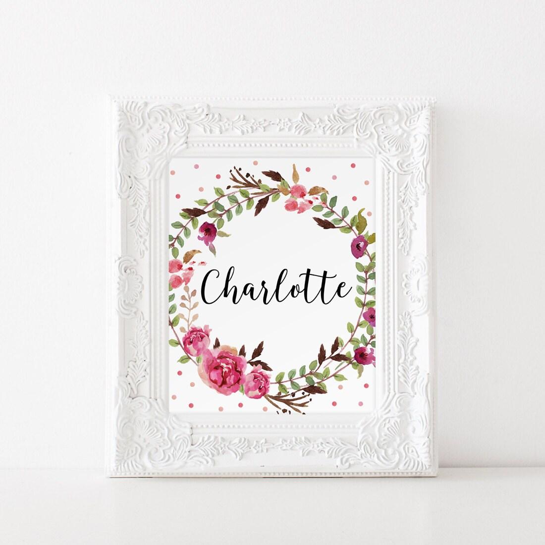 Floral name decor charlotte name nursery charlotte art zoom negle Gallery