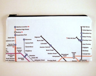 London Underground Zipper Pouch, Gadget Bag, Pencil Pouch, Make Up Bag