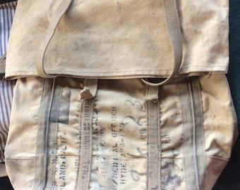 MILITARY BACKPACK DUFFELBAG, vintage bag, medical officer, heavy canvas, straps, buckles