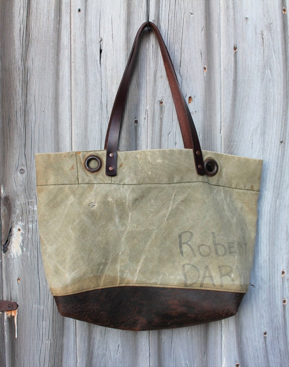 Military Canvas + Leather Tote