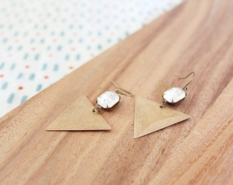 vintage glass gem + vintage brass triangle geometric earrings - clear