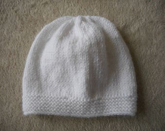 Baby Hat white knitted wool baby (choice of color)