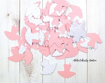 Tutu Confetti, Pink and White Ballerina Party, It's A Girl Baby Shower, 1st Birthday, Gender Reveal, Tiny Tutu Die Cut, 1 inch, Set of 100
