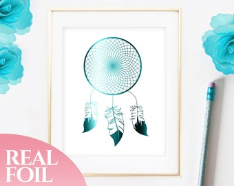 Dream Catcher Foil Print Real, Dreamcatcher, Teal, Gold, Boho Chic, Tribal, Home Decor, Wall Art, Gallery, Wall Print, Room, 5x7, 8x10