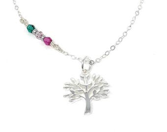 Family Tree Necklace - Birthstone Necklace - Family Necklace - Mom Jewelry