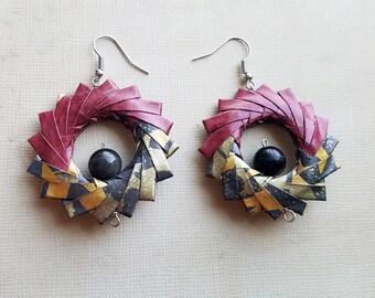 Origami Hoop Earrings Geometric Red Black Gold withe Cateye Gems, Origami Jewelry, Japanese Earrings, Harajuku Asian Kimono Geisha Earrings