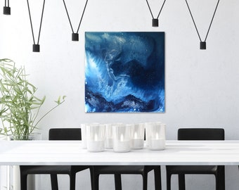 Deep Blue Underwater Ocean Art Free Fall