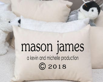 Personalized baby, baby pillow, newborn photo prop, baby gift idea, name pillow with copyright date, baby girl, baby boy gift, -Jude-