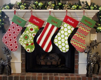 Personalized Christmas Stockings. Extra Large XL Giant Huge Christmas Stockings! Pick colors, fabrics, font, embroidery monogram on stocking