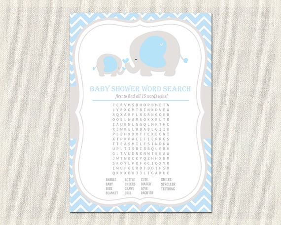 Superb Baby Shower Word Search Boys Light Blue Gray Elephant Theme Baby Shower  Game   PDF Printable | Games | Instant Download BS 9