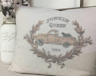 Farmhouse Pillows, Canvas Pillows, Junkin Queen Pillow, Throw Pillow, Decorative Pillows, Canvas Pillow, Throw Pillows, Decorative Pillow,
