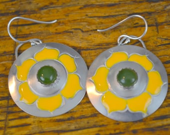 Silver Earrings with Yellow Flowers and Jade