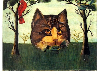 Fine Art Print - The Cat, Unknown American Artist - 1992 Vintage Book Page - Reproduction Print - 8.5 x 11
