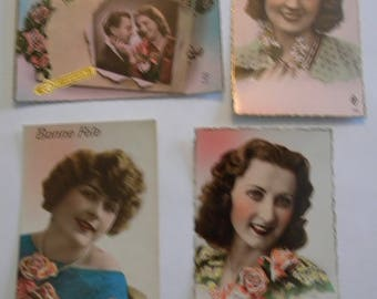 French Postcards - 1920's - Set of 4