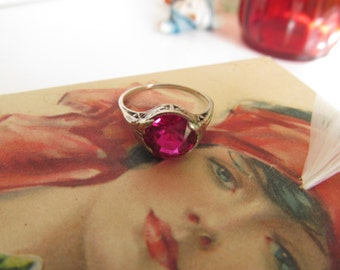 14K Lovely Edwardian Ruby Ring  Antique Edwardian Rings 14K white Gold Art Nouveau Ring sz 7.5