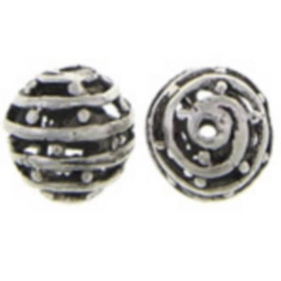 Set of 5 beads hollow metal - silver - 10 mm